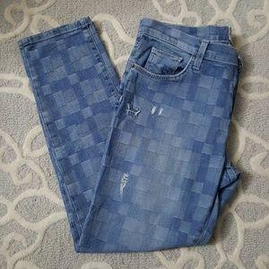 Current/Elliot Checker Boyfriend Jeans